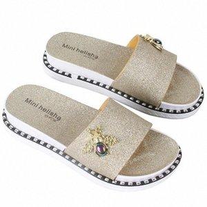 Women Summer Slippers Bee Fashion Platform Bling Flip Flops Flats Beach Lady Casual Shoes Outdoor Footwear Sandal Zapatos Mujer EsKd#