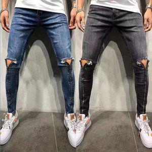 Mens Zipper дизайн джинсы Новый Серый Синий мотоцикл Промытые джинсовые брюки Тощий карандаш брюки Эластичный джинсы