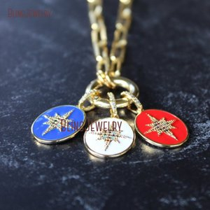 NM33864 Gold Filled Paperclip Chain North Star Enamel Pendant Paper Clip Chain Push Gate Ring Independence Day Red Blue White