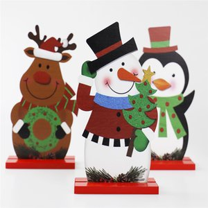 Christmas Wooden Figure Ornament Wooden Santa Elk Snowman Crafts Table Decoration Kids Christmas New Year Gift AAB1216