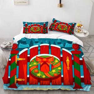 2/3 Pieces Рождественский подарок комплект постельных принадлежностей Красный деревянная дверь пододеяльник мультфильм кровать Одеяло Обложка Happy New Year Home Textile Set