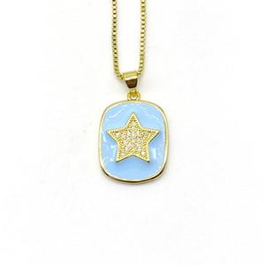 Ожерелья кулон 5 шт. / Лот Богемский эмаль латунь CZ Star Charm ожерелье