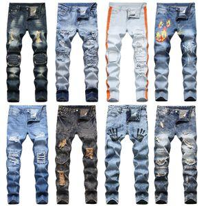 Mens retro clásico diseño de los pantalones vaqueros pantalones largos - apenada impresos de taladro recto pantalones vaqueros rasgados Hombres Homme