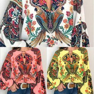 kgKqk linterna y otoño nueva moda estilo étnico camisa ropa Spring National tamaño de las mujeres de la manga de la linterna grande impreso camisa de manga larga
