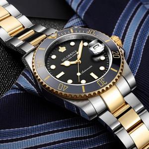 Mgorkina mg erkekler saatler otomatik siyah izle erkekler paslanmaz çelik su geçirmez iş spor mekanik kol saati