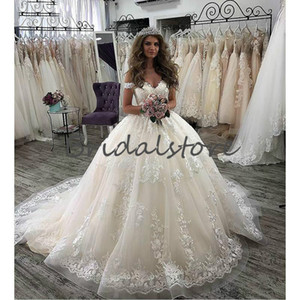 Princess Ball Gown Champagne Wedding Dresses 2020 Sexy Off The Shoulder Puffy Tulle Lace Church Garden Wedding Dress Sweep Train Bridal Gown