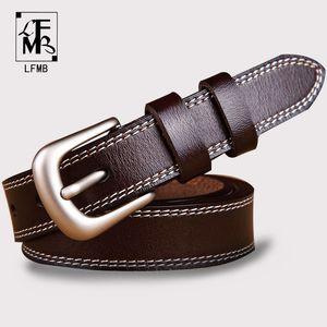 [LFMB] Gürtel für Frauen Gurt männlichen echtes Leder Jeans Frauen echtes Leder Rindsleder Pin-Schnalle ceinture homme