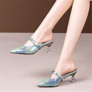 PXELENA Plus Size 34-42 Women Genuine Leather Slides Snake Print Strange Crystal Heel Slippers 2020 Summer New Mules Shoes