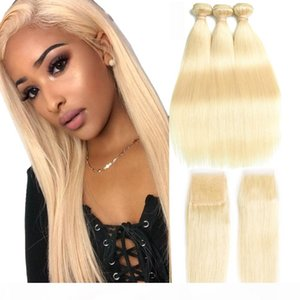 Peruvian Virgin Hair Bundles with Closures 613 Blonde Bundles with Frontal 10-30 inch Straight Human Hair 3 Bundles with 4*4 Closure HCDIVA