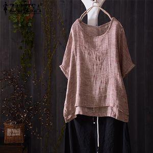 Summer Women O Neck Short Batwing Sleeve Blouse Casual Solid Shirt Vintage Cotton Linen Loose Top Blusas Plus Size