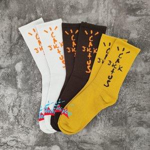 White Yellow Brown 20ss Socks Women Men Unisex 100% Cotton Basketball Socks