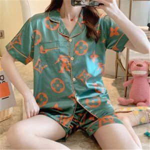 Couple Pyjama Set Femmes Hommes en satin de soie Pyjama Couples manches longues fleurs imprimé nuit Homewear Pj unisexe Pyjama Taille Plus M-3 # 518