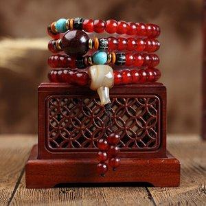 Naturel Haute Qualité Tibet Temple Jokhang Old Horn Sheep poli Barils Perles 108 Mala Cordes main hommes et femmes Bracelet