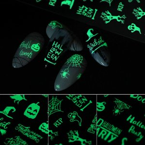 Prego Luminous Nail Art fluorescente etiqueta do Natal das Bruxas Adesivo luminosa prego adesivos Festa Halloween Party Funny Sticker