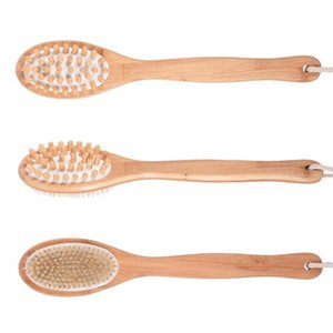 Dual Head Bath Shower Brushes Natural Boar Bristles Back Brush with Long Bamboo Handle SPA Brush Body Massager HWC2419