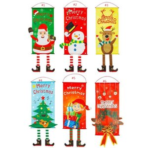 2020 New Merry Christmas Hanging Flags Cloth Door Curtain Festival Decorations Banners Xmas Holiday Tree Banner flag