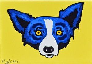 George Dog Rodrigue azul Ahead de pintar o jogo Decoração óleo sobre tela Wall Art Canvas Pictures Wall Decor 200912