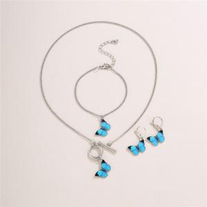 10sets / Lot Европейский бабочка браслет серьги ожерелье готика металла OT пряжка цепь змейки способа женщин Наборы Ношение ювелирных изделий