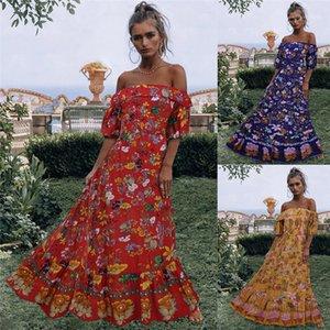 Long Dresses Fashion Womens Party Dresses Slash Neck Designer Women Dresses Vintage Floral Print Big Skirts Lantern Sleeved