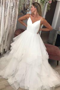 Simple Design Spaghetti Straps Bride Dress Unique A-line Fashion Long Dress for Wedding Party Custom Made