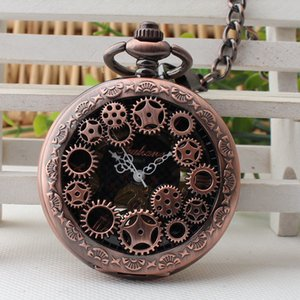 Hollwed Red Copper Gear Skeleton Mechanical Roman Dial Pocket Watch with Chain Men Women Pocket Watches 10pcs lot T200502