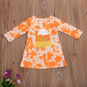 Baby Girls Long Sleeve Dresses Halloween Pumkin Striped Tie Dye T Shirt One Piece Dress New Kids Halloween Party Dress Clothing D91606