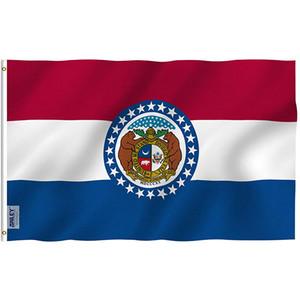 3x5 Missouri State Bayrak ve Banner, tüm ülke Herhangi Tasarım Logo Asma, Çift% 80 Bleed ile Baskı Taraflı
