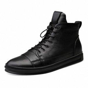 Youki homme Bottes d'hiver en peluche laine fourrure Homme botte en cuir véritable Chaussures Hommes Big Taille Fz7J #