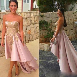 Arabic Homecoming Dresses Pink Prom Dresses with Gold Applique A Line Strapless Satin Modest Evening Dress High Low Formal Party Gowns