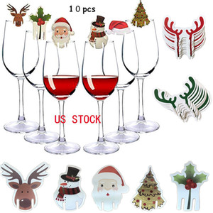 Christmas Desktop Decorations Wine Glass Card Deer Head Santa Claus Card Christmas Decorations Red Wine Card XD23999