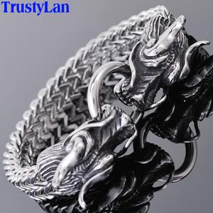 Double Dragon Head Men Bracelet For Man Friendship Mens Bracelets 2018 For Men Punk Rock Stainless Steel Male Jewelry TrustyLan T200323