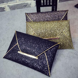 Women Envelope Sparkle Bling Day Clutch Bags Evening Party Handbag Day Clutches Ladies PU Leather Sequin Glitter Handbags