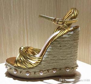 Cuero Plataforma perla de Bohemia mujeres de las sandalias gladiador metálico Nudo Espadrille bombas altos talones verano de las señoras cuñas de Mary Jane Shoes