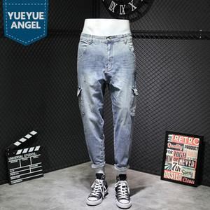 High Street Multiple Pockets Vintage Cargo Pants Men Fashion Loose Ankle Length Harem Jeans Casual Mens Jeans Plus Size 40 42