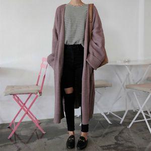 Yocalor Moda Long Cardigan Mulheres 2019 Harajuku solto Knit Sweater Mulheres Casual Preto Oversized Brasão Jacket Outono Y200909