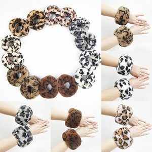 Plush Warm Leopard Bracelet Wristbands Circle Round Fur Hand Ring Ornament Halloween Christmas Party Gifts DHL SHip WX9-1641