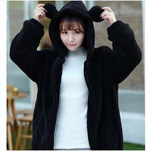 New Women Hoodies Zipper Winter Loose Fluffy Bear Ear Hoodie Hooded Jacket Warm Outerwear Coat Cute Sweatshirt W1