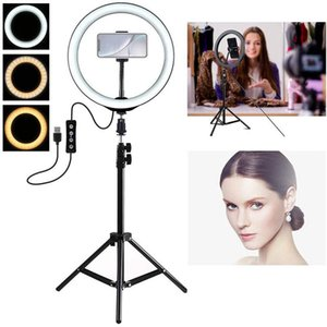 LED Self-Tirer Ring Light Dimmable Studio Camera Trucco Trucco Anello Fill Light con treppiedi da 50 cm per streaming live Youtube video