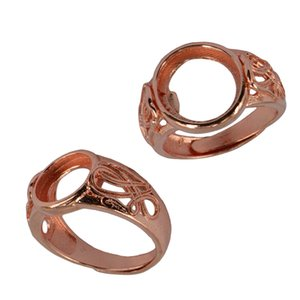 2 Stück Einstellbare Filigree DIY Ring Blank runde Basis Rose Gold 10mm / 12mm Art Project Findings