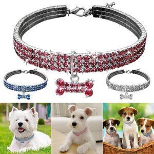 Pet Cats Dogs Puppy Collar Cute Dazzling Elegant Fancy Rhinestone Bone-shaped Pendant Jeweled Collar 2019ing