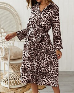 Womens Dresses Fashion Leopard Pattern Dresses with Sashes Casual Natural Color V-Neck Long SLeeve Dress Womens Designer Clothes