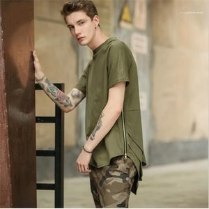 Color Street Style Tees Males Fashion 2020 New Style Clothes Teenagers Irregular Zipper Fly Tshirts Mens Summer Designer Solid