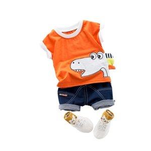 Toddler Kids Baby Boys The dinosaur head Cartoon Print T Shirt Tops Jeans Short 2PC Outfits Sets Animal cute children's suit