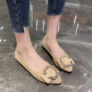 2020 Womens Shoes Sexy Fashion New Pointed Flat Sole Womens Party Official Office Shopping Loafers HFuG#