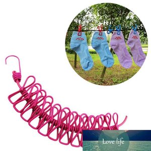 185CM Outdoor Wild Travel Portable Windproof Elastic Clothesline Clips Hanger Drying Rack Clothes Hanging Rope Line