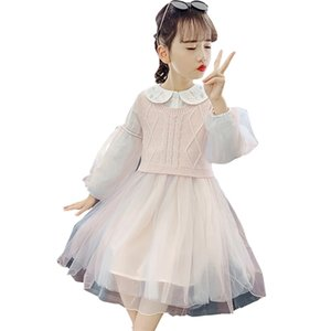 Girls Knitted Clothes Vest + Mesh Dress Costume For Girls Flower Embroidery Tracksuit Girl Autumn Winter Children's Costume 0927