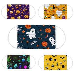 DHL free shipping design Halloween mask adult children cartoon pattern disposable printing meltblown cloth three-layer breathable protective