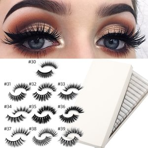 New one pair handmade natrual cotton stem eyelashes 3D mink faux lashes sexy makeup eyelashe extensions 17 styles