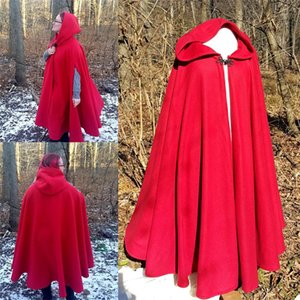 2021 Red Hooded Bridal Cloaks Coat Women Outdoor Capes Wicca Robe Warm Bridal Jackets Christmas Events Accessories