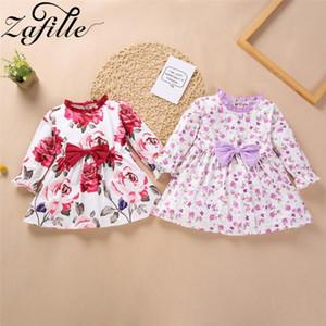 ZAFILLE 2020 vestido Nueva niña floral de manga larga Alineada de la impresión Para niños de los niños del arco Deco ropa de la muchacha recién nacido